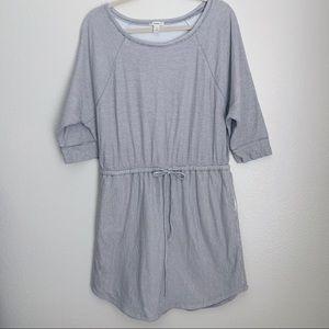 Caslon Causal Drawstring Waist Gray/White Dress